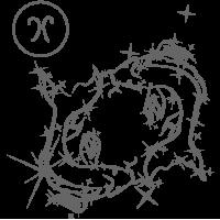 0568. Знак зодиака контуром Рыбы