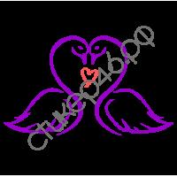 1136. Свадебная наклейка Лебеди на автомобиль