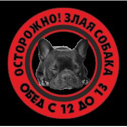 """1171. Наклейка """"Осторожно злая собака"""""""