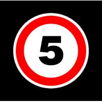 """1295. Наклейка """"Знак ограничение скорости"""" 5 км/ч"""