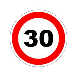 """1298. Наклейка """"Знак ограничение скорости"""" 30 км/ч"""