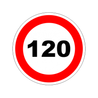 """1327. Наклейка светоотражающая """"Знак ограничение скорости"""" 120 км/ч"""
