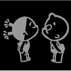 1539. Наклейка Девочка и мальчик