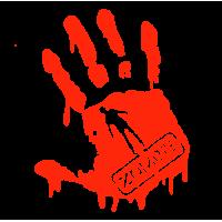 """1562. Наклейка на авто """"Кровавая рука Zombie"""""""