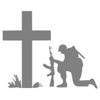 """1724. Наклейка """"Солдат на коленях у креста"""""""
