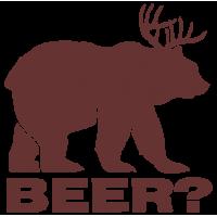 """1728. Наклейка """"Медведь + Олень = пиво"""""""