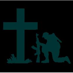 """1768. Наклейки """"Солдат на коленях у креста"""""""