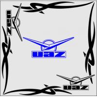 """1828. Наклейка на авто """"UAZ (Уаз) уголком"""""""