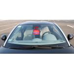 """Табличка на ПВХ пластике 3мм """"Мешает машина позвоните"""" 19 х 25см ( Вешается на зеркало или боковую ручку авто)"""